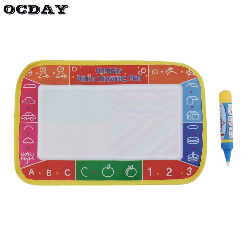 OCDAY Kids Baby Write Draw Paint Water Magic Doodle Mat Children Play Mat With Magic Pen Painting Christmas Gift Toys 25*16.5cm