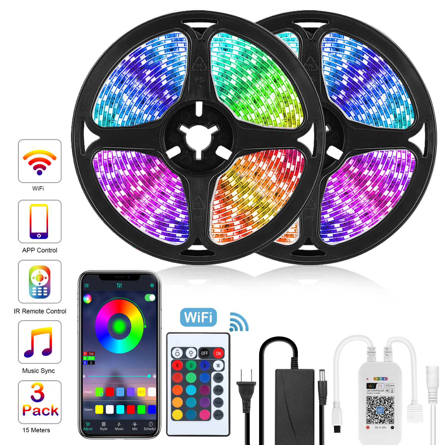Permalink to Goodland LED Strip 12V Ribbon LED Lights Strip RGB Tape 5050 2835 Flexible 5M 10M Diode Tape with WiFi Remote LED Light for Room