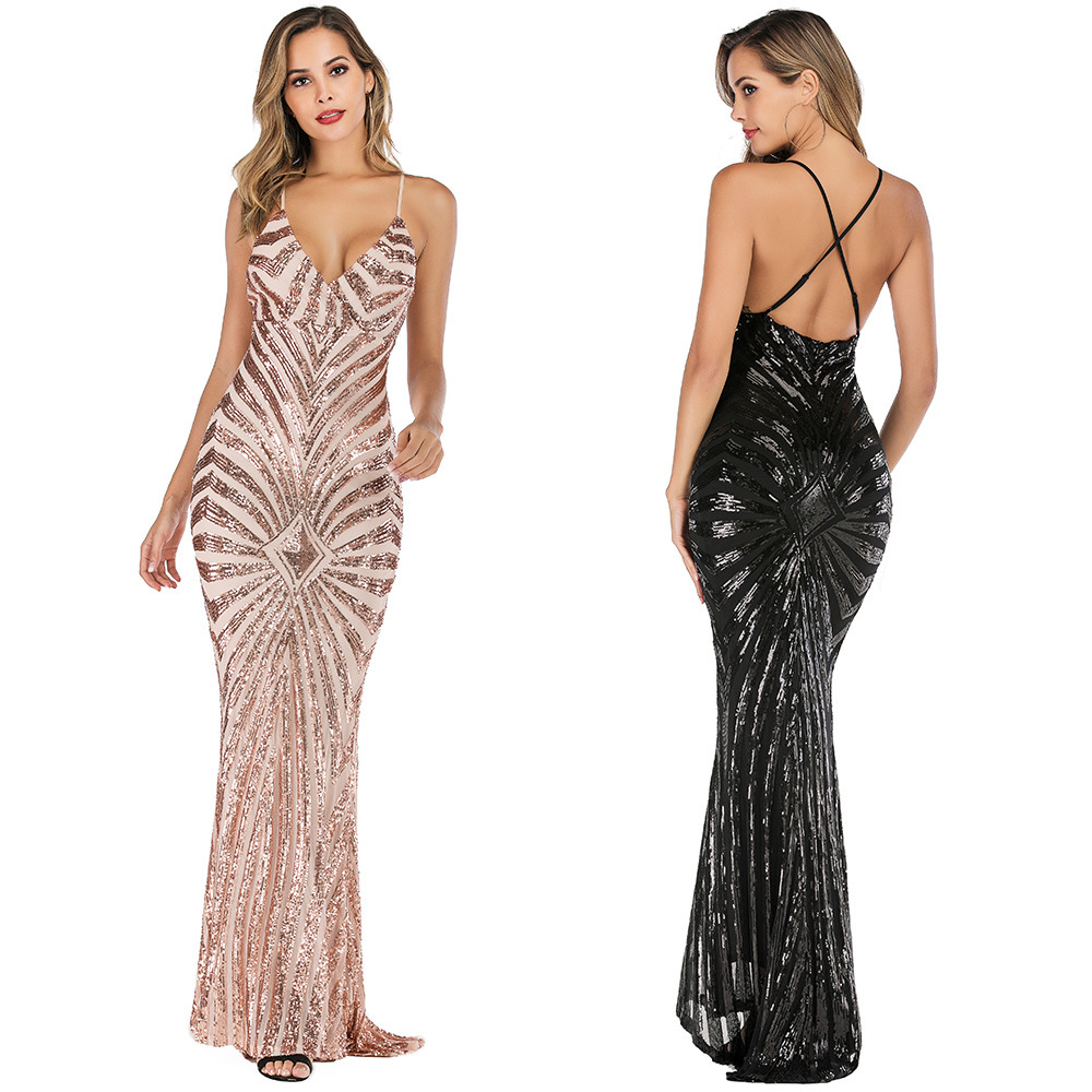 Sexy Saudi Arabia Mermaid   Evening     Dresses   Long V-Neck Backless Spaghetti Straps Luxury Formal Party Gowns Vestido Longo Festa