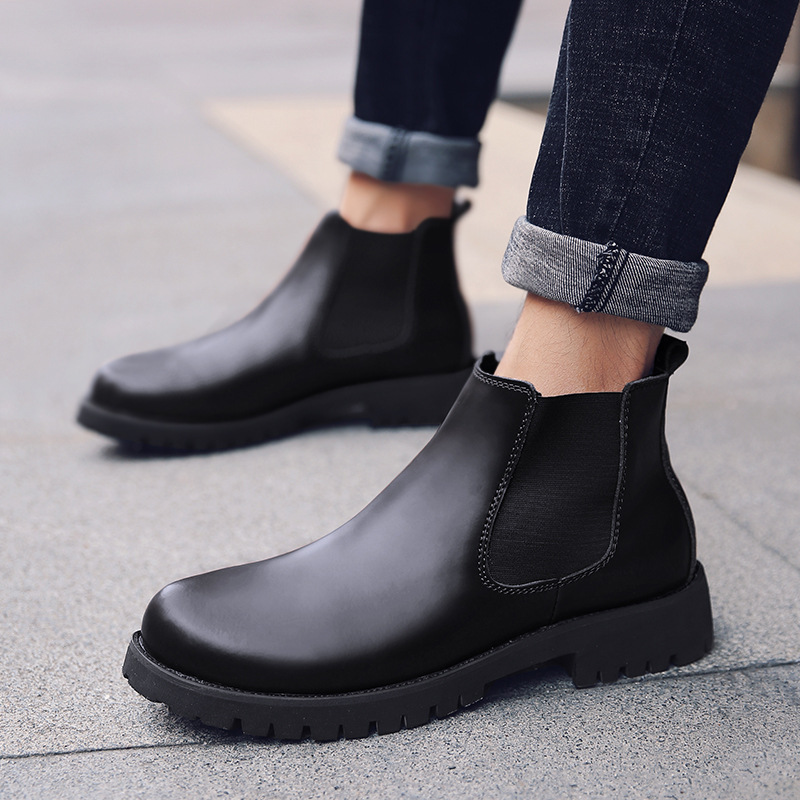 New Genuine Leather Autumn Winter Shoes Men Chelsea Boots Warm Fur Shoes Men Ankle Boots Soft Cowhide Male Winter Footwear A1911