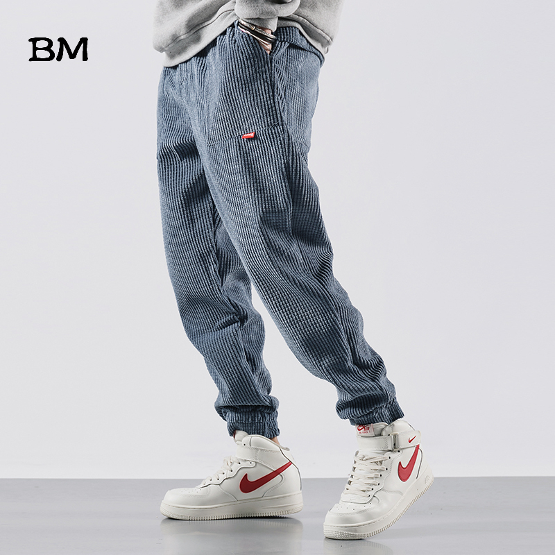 Corduroy Trousers Slim Hip Hop Men Casual Pants Streetwear Fashions Black Jogger Pants Korean Style Clothes 2019 Clothing Male