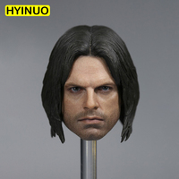 1/6 Scale U.S. Captain 3 Cold Long Hair Soldier Bucky Barnes Sebastian Stan Head Sculpt Headplay for 12 Action Figure Doll Body