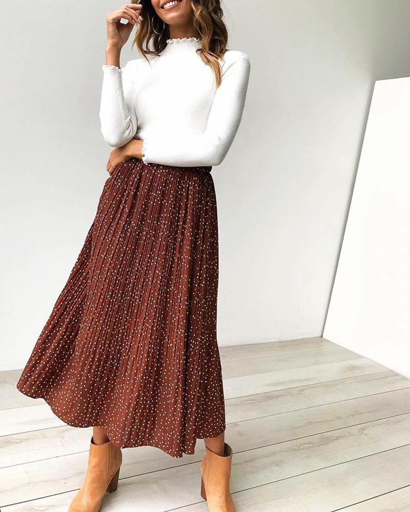 Hab6f3ef21fdb42b3ae2d65ed0900065ch - Summer Casual Chiffon Print Pockets High Waist Pleated Maxi Skirt Womens Long Skirts For Women