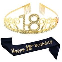 Headband Tiara Birthday-Party-Satin Silver Gold Sash Decoration-Supplies Crown Favor-Gifts