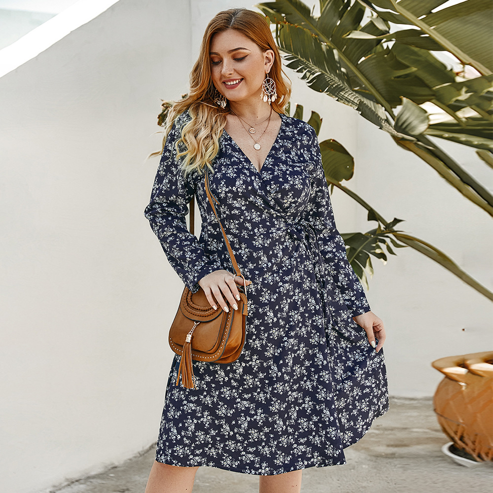 Origional Design Large Size Dress Separate Station Hot Selling 2020 Spring And Summer New Products Small Floral Dress