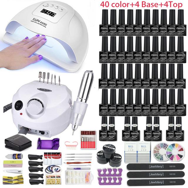 Manicure Set with Color Lamp UV Gel Nail Polish Kit