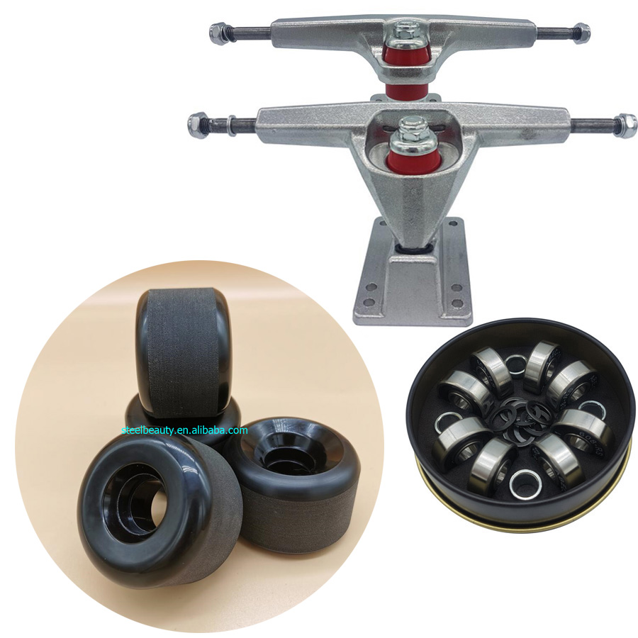 Good Quality Dish 6.25inch Surf Skate Longboard Trucks Plus 60mm High Rebound Longboard Wheels Plus ABEC-11 Skateboard Bearings