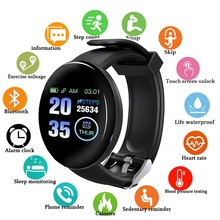 Smart Watch Waterproof Blood Pressure Blood Oxygen Heart Rate Monitor Man Woman Sport D18 Smartwatch for Android Ios Add Strap цена и фото