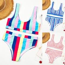 Conjunto de Bikini a rayas para mujer, Sujetador con relleno con aumento, ropa de baño, venta al por mayor