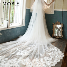 MYYBLE Wholesale 3M 5M One Layer Lace Edge White Ivory Catherdal Wedding Veil Long Bridal Veil Cheap Wedding Accessories Veu