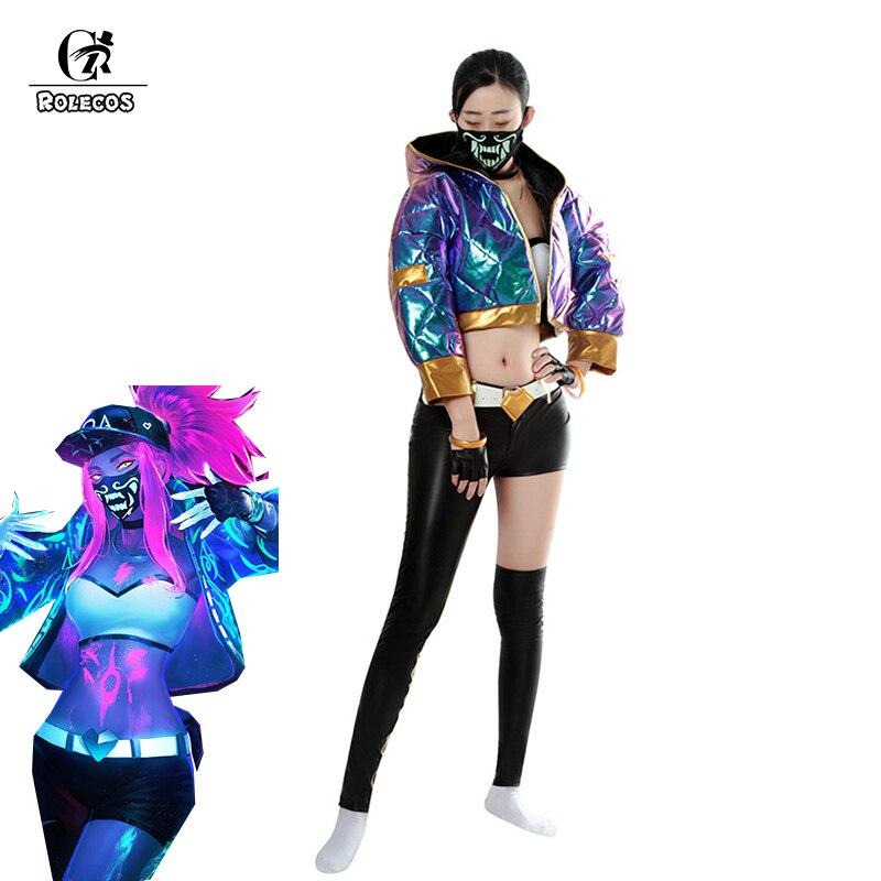 Disfraz de Cosplay de LOL KDA Akali para mujer, Cosplay de ROLECOS, uniforme de Cosplay de LOL KDA, traje cálido de invierno