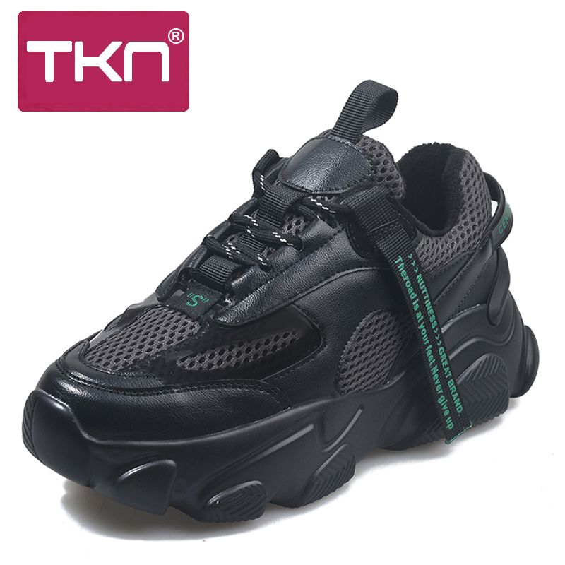 TKN Women Platform Shoes 2019 Mesh Casual Shoes Ladies Dad Shoes Breathable Thick Bottom Cross Tied Causal Female Sneakers 1996