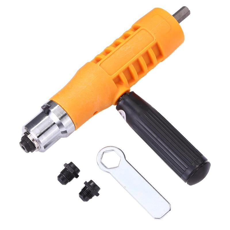Electric Rivet Nut Gun Riveting Tool Set Insert Nuts Riveter Drill Adapter Kit No Skidding And Quick Back Nail Feature Riveter