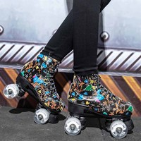 Graffiti Microfiber Flashing Roller Skates Double Line 4 Wheel Skates Men Women Adults Skating Shoes Patines With White PU Wheel