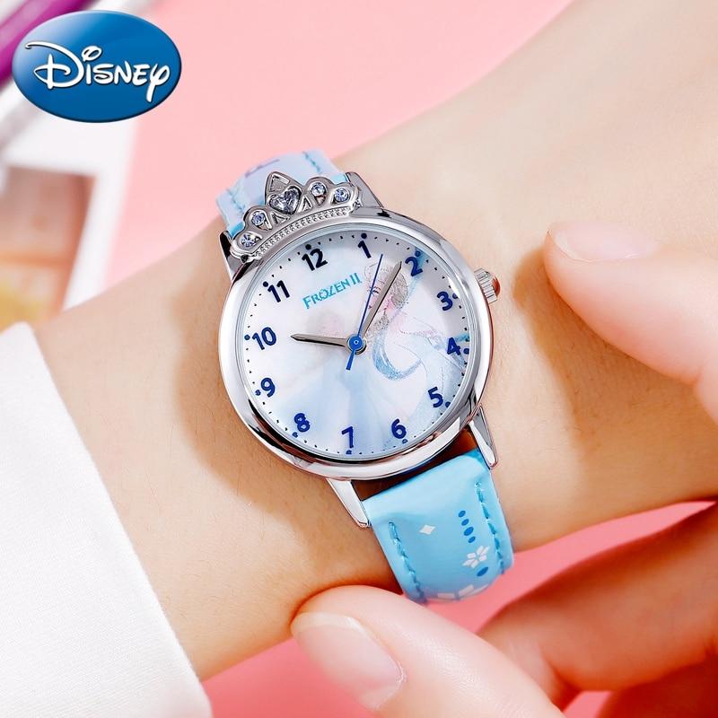 Frozen Ⅱ Girl Gift Beautiful Kids Clock Brave Elsa Disney Princess Luxury Jewelry Crown Waterproof Student Watches Kol Saati New|Children's Watches| |  - title=