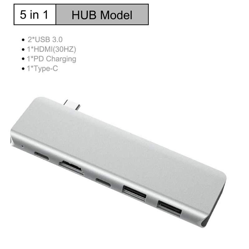 AAAJ-5-In-1 Usb C Hub Type-C Om Multi Poorten Usb 3.0 Type C Adapter USB-C Hub Splitter Dock