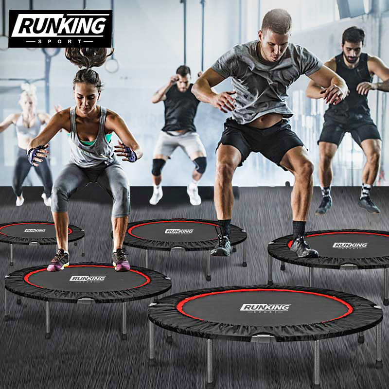 New High-end 40'' Black Foldable Portable Round Professional Fitness Adult Trampoline With Handrail Children's Indoor Bounce Bed