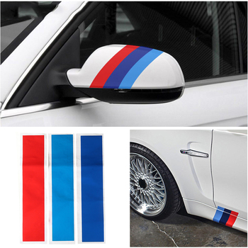 3pcs/set Car Stickers And Decals Carbon Fiber Front Grill Stripes Decals For BMW M3 M5 M6 E46 E39 E60 E90 Universal Car-styling image