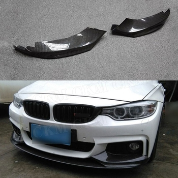 Carbon Fiber Front Bumper Lip Splitters Flaps Cupwings for BMW 4 Series F32 F33 435i M Sport 2014-2017 FRP Head Chin Aprons image
