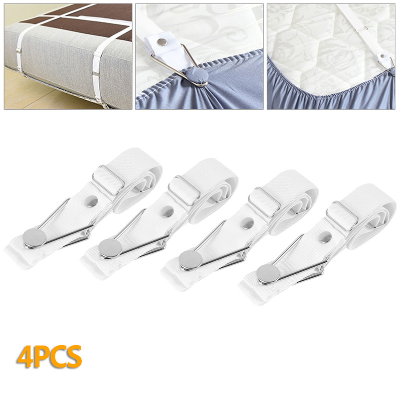 Bed Sheet Clips Blanket Grippers Mattress Cover Adjustable Fastener Holders 4Pcs