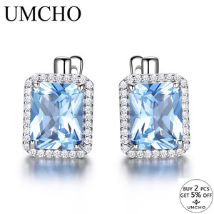 Image 2 - UMCHO Luxury Rectangle Created Sky Blue Topaz Clip Earrings Solid 925 Sterling Silver Gemstone Earrings For Women Fine Jewelry