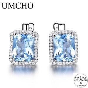 Image 2 - Umcho 高級長方形作成スカイブルートパーズクリップ 925 スターリングシルバー宝石用原石のイヤリング女性のためのファインジュエリー