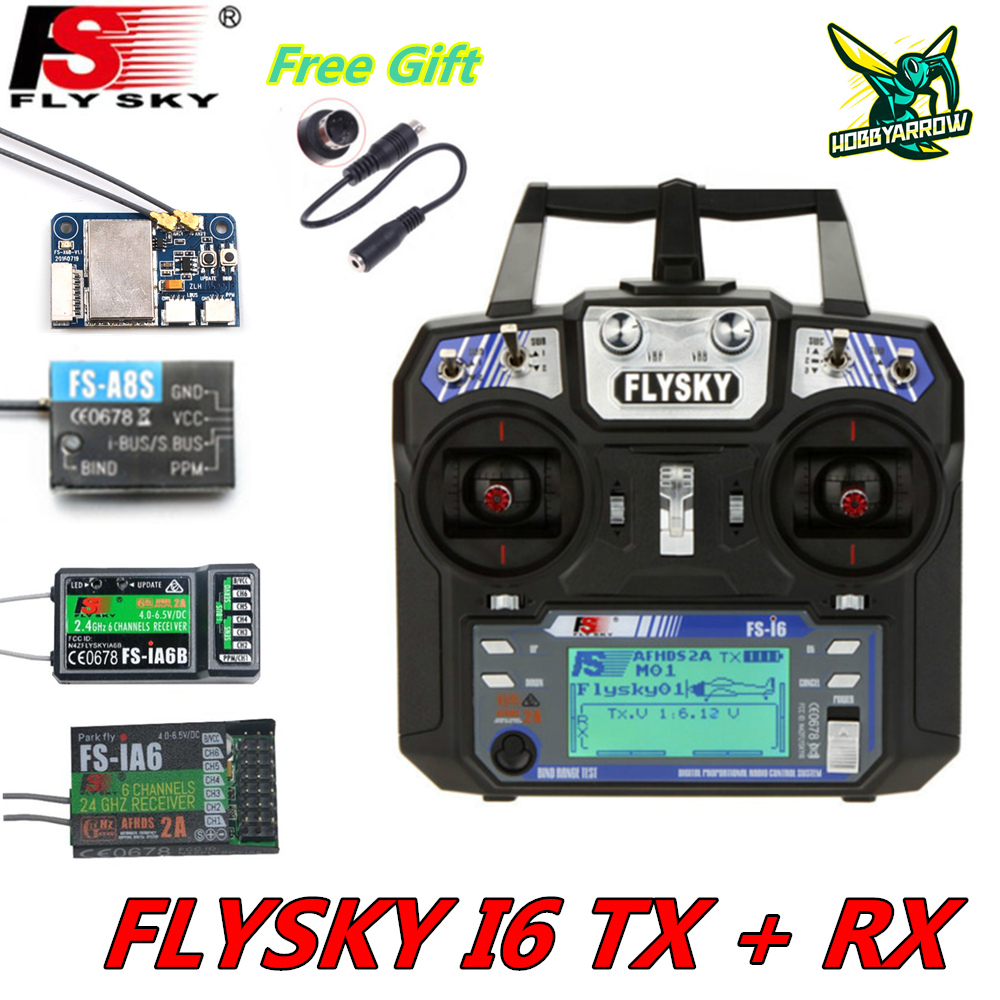 FLYSKY FS-i6 i6 2.4G 6CH AFHDS Transmitter With iA6B X6B A8S R6B iA10B Receiver Radio Controller for RC FPV Drone Airplane(China)