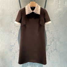 Tarf retro de cintura alta preto manga curta mini vestido ol feminino verão novos vestidos casuais luz roupas 2021 pista nova marca