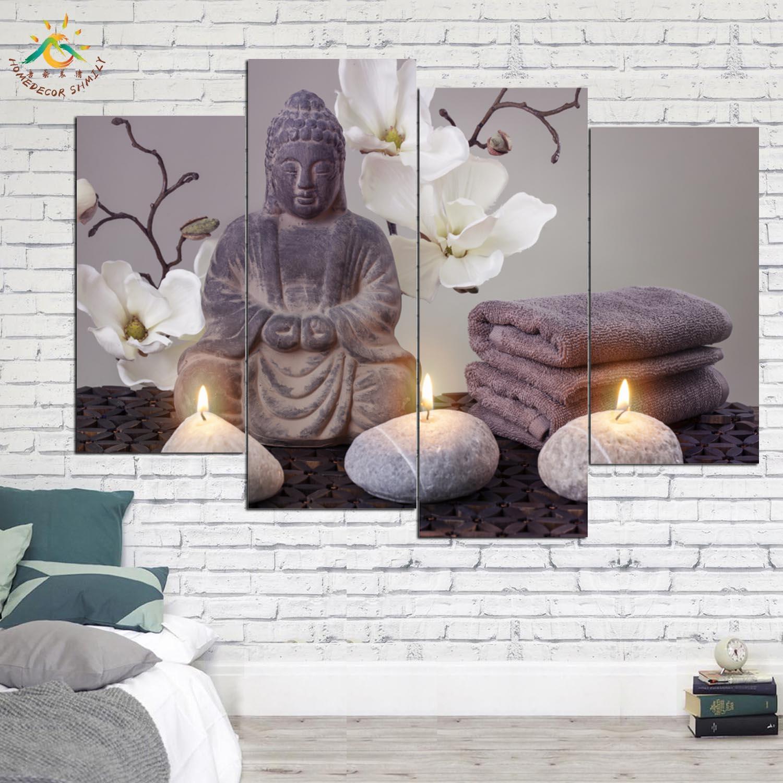 Dekorimi i Fotografive Moderne të Bukuruara në Buddhë Dekorimi i Bukurave të Budës Piktura në mur Canvas Pamje për dhomën e ndenjes 3-4-5 copë