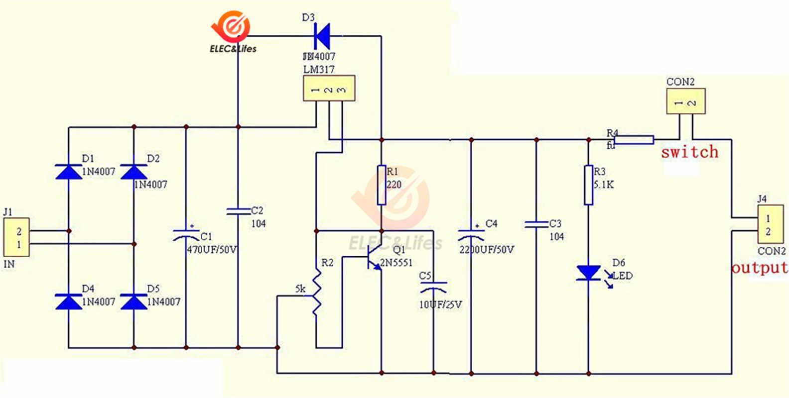 LM317 AC/DCแรงดันไฟฟ้าRegulaterขั้นตอนลงBuck Power Supplyโมดูลสวิทช์Potentiometer PCB DIYชุดLM317T