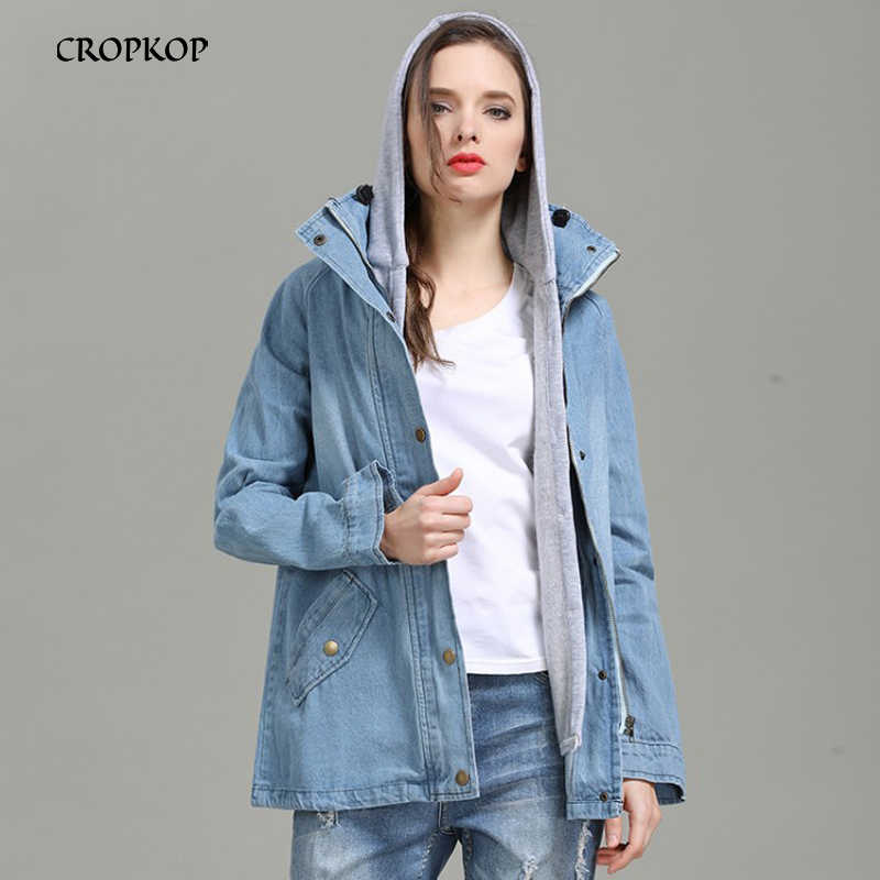 Fashion Women Denim Jackets Large Size Hooded Warm Cardigan Ladies Long Sleeve Streetwear 2019 Autumn Winter Clothing Outerwear