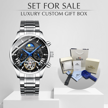 HAIQIN Men's/mens watches top brand luxury mechanical watch men sport wristwatch mens reloj hombre tourbillon Set Style Leather