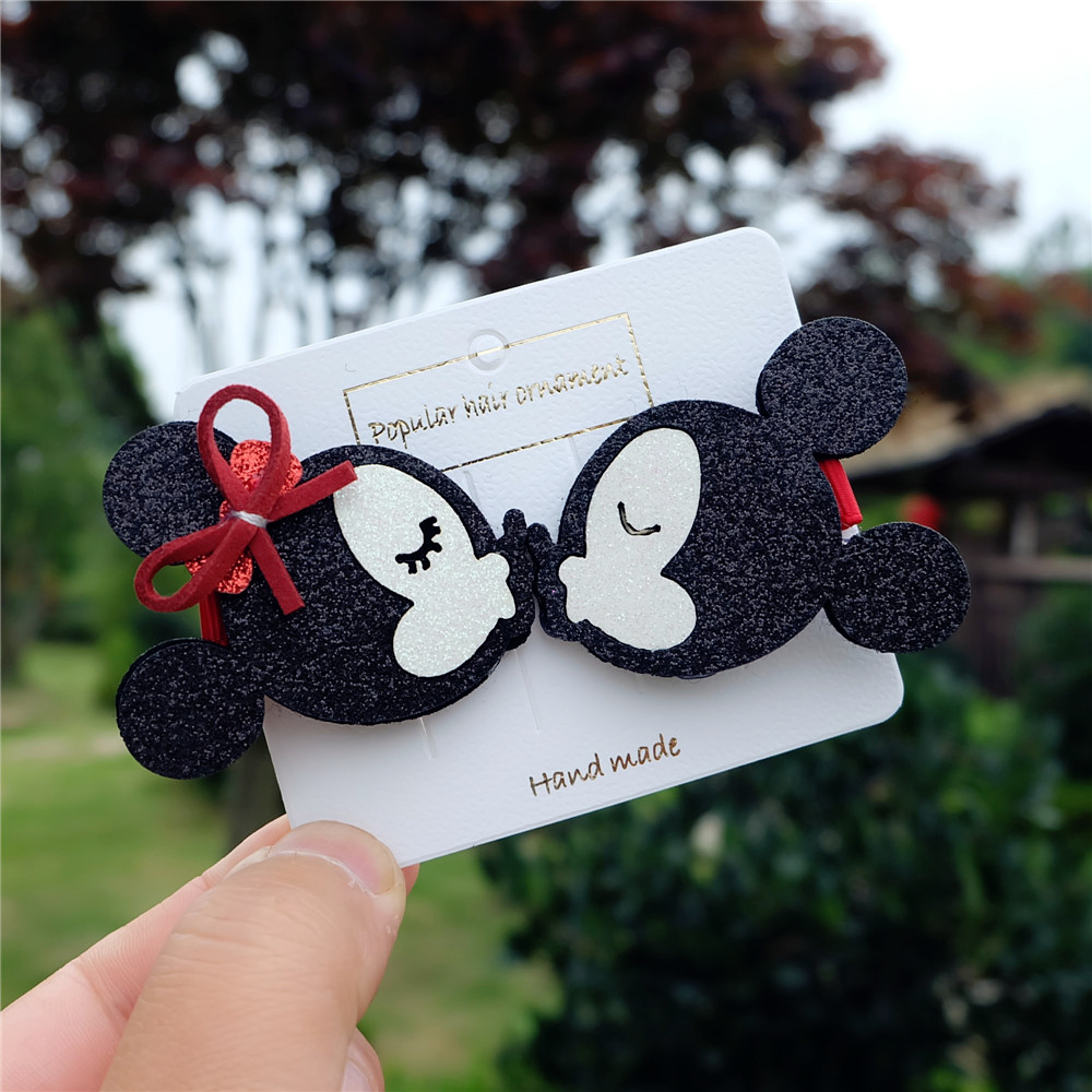 2pcs/set Kids Crown Hair Clips Cute Minnie Barrettes Princess Bow Headwear Hairpins Cartoon Bear Hair Accessorie For Babys Girls