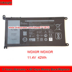 Originele 11.4V 42Wh T2JX4 WDXOR WDX0R Batterij voor Dell Inspiron 13 5378 7368 13 5368 15 5538 5567 5568 15 7000 7560 3CRH3 FW8KR