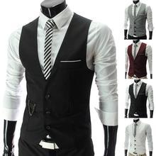 Men Waistcoat Jacket Vest Solid-Color Blazer Business Formal Fashion Sleeveless Buttons