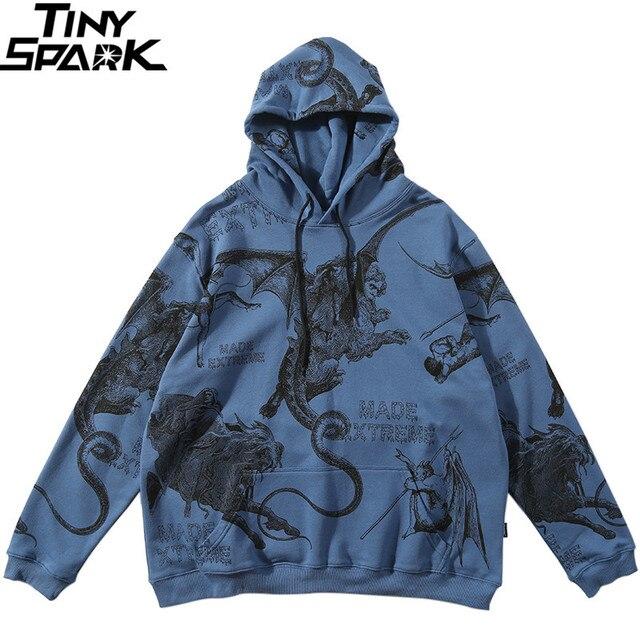 2019 Streetwear mężczyzna Hip Hop bluza z kapturem bluza starożytne zwierzęta diabeł Harajuku bluzy z kapturem sweter niebieski luźne ubrania bawełna jesień