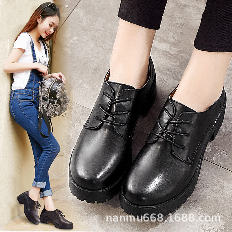 2019 Autumn & Winter British Style Korean-style Chunky-Heel Thick Bottomed Round-Toe Leather Shoes Women's College Style Black A