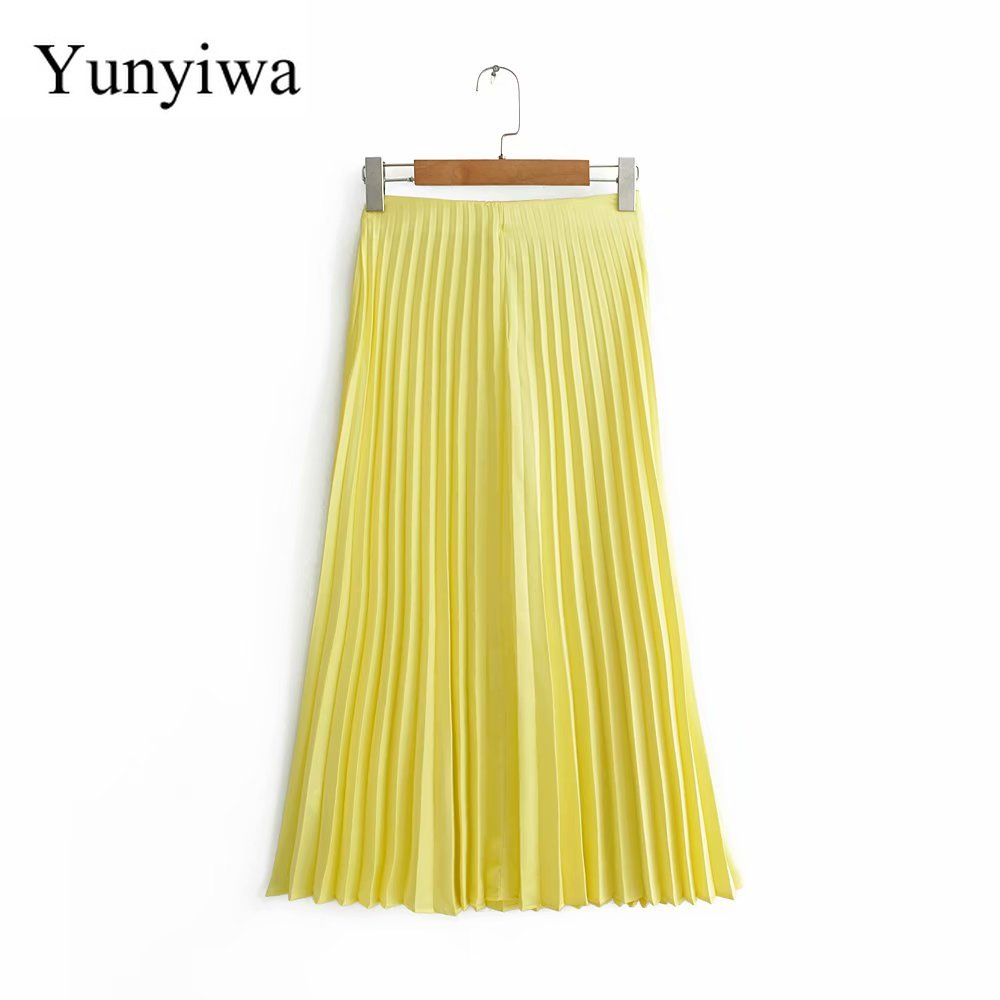 New Women Fashion Solid Color Pleated Midi Skirt Faldas Mujer Ladies Side Zipper Casual Chic Brand Yellow Skirts