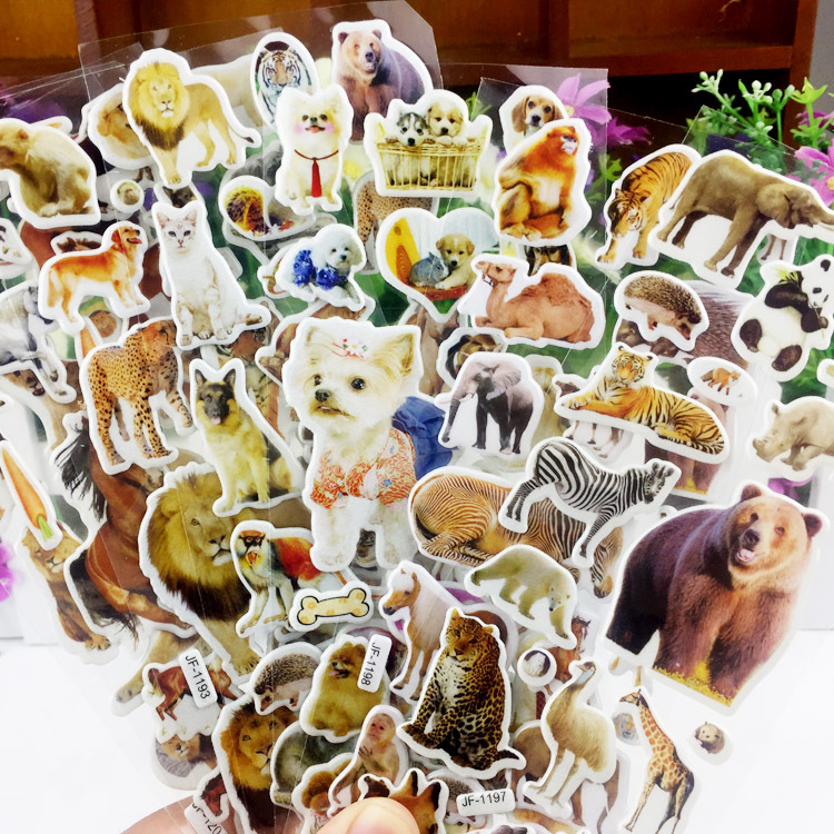10 Sheets 3D Animals Stickers Toys For Children On Scrapbook Phone Laptop Gifts Animals Tiger Lion Dinosaur Sticker