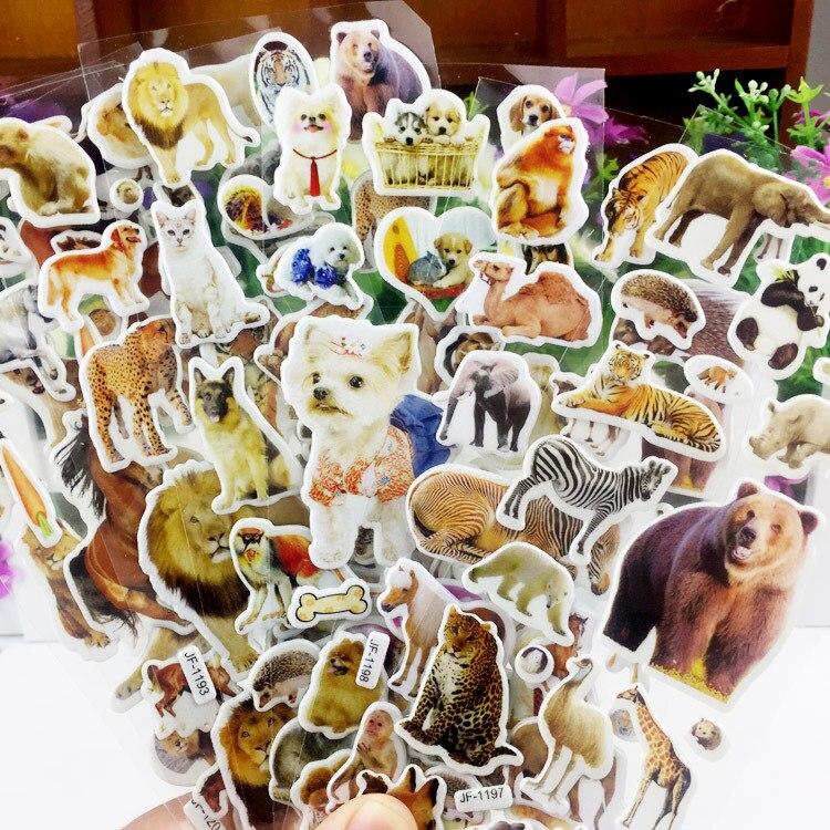 10 Sheets 3D Animals Stickers Toys For Children On Scrapbook Phone Laptop Gifts Animals Tiger Lion Dinosaur Sticker