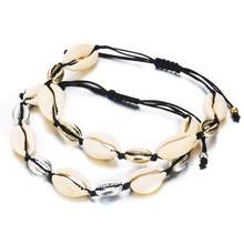 Bohemian Style Natural Seashell Buzious Bracelet Beach Personality In Adjustable Fashionable rope Chain Bracelet For Women Gift(China)
