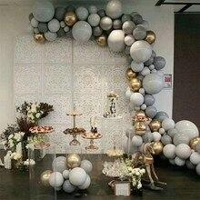 125 adet 5/10/18 inç macarons gri balon altın 4d balon garland seti düğün dekorasyon doğum günü partisi