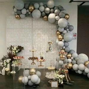 Image 1 - 125PCS 5/10/18 inch macarons grey balloon gold 4d balloon garland set wedding decoration birthday party
