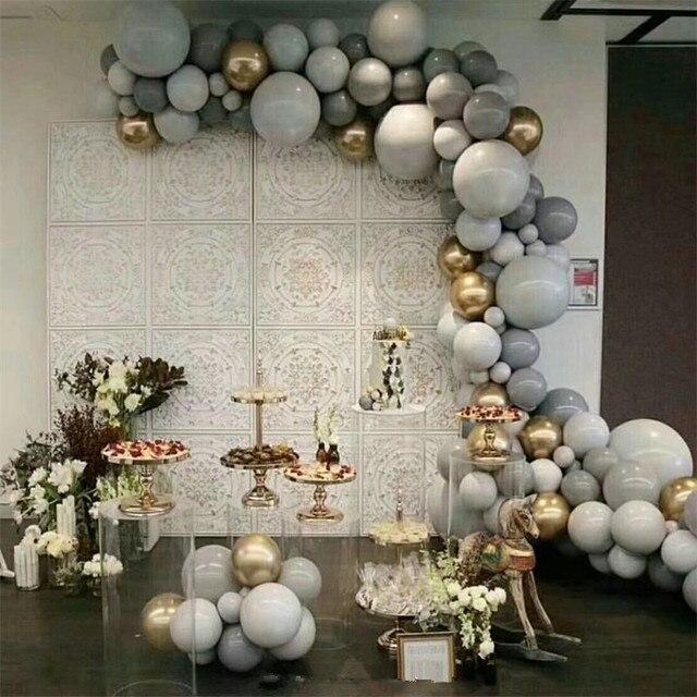 125PCS 5/10/18 inch macarons grey balloon gold 4d balloon garland set wedding decoration birthday party
