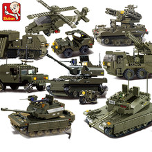 Compatible legoed Military headquarters a transport ww2 Tank Armored vehicle building blocks boys child toys world war 1 2 sets(China)