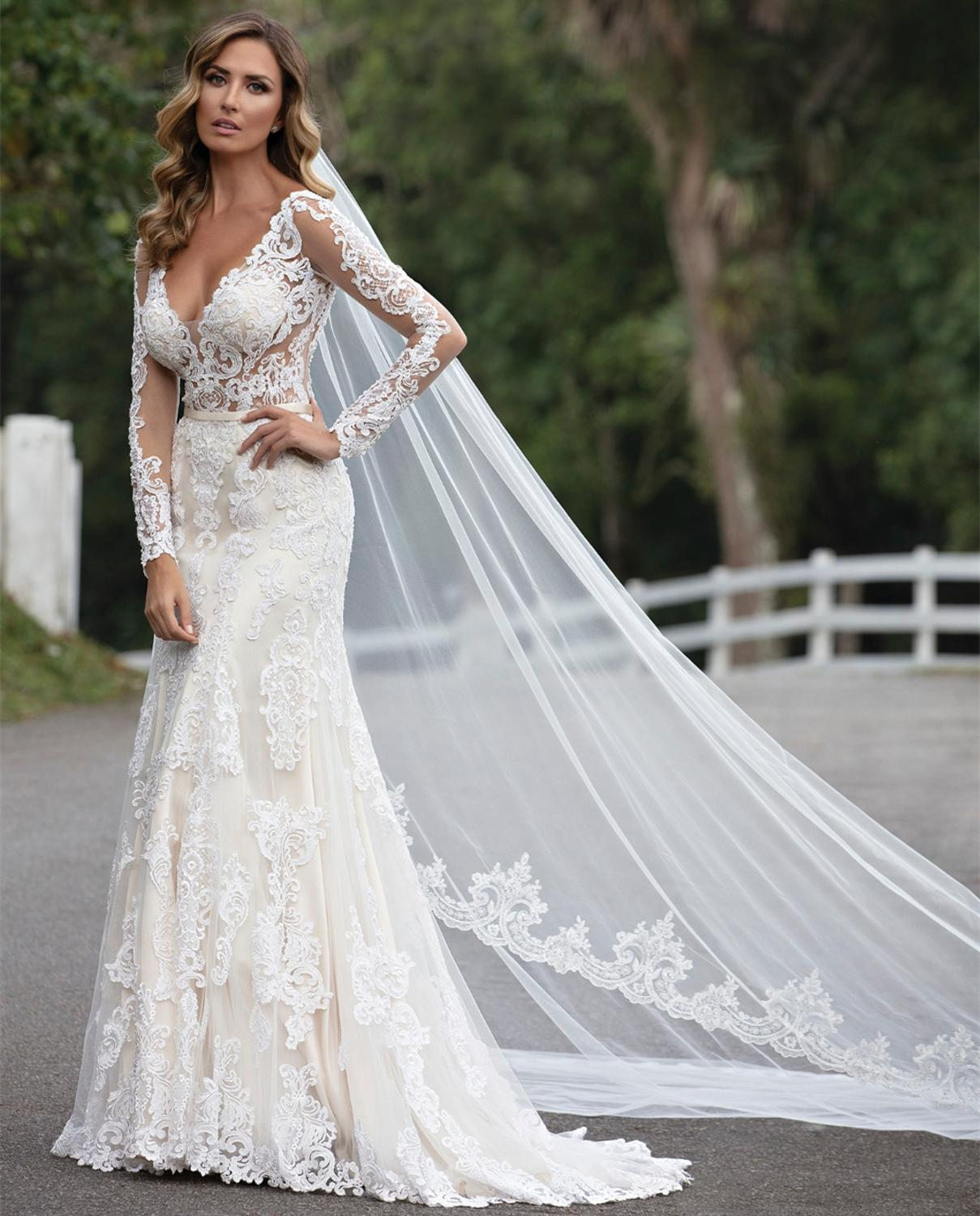 Custom Made 2020 New Design Wedding Dresses Mermaid V-neck Long Sleeve Tulle Lace Crystal Sexy Luxury Bridal Wedding Gowns CO9