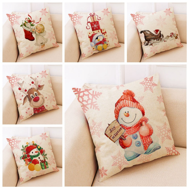 Di Natale Coperture per Cuscini Coperture Divano 45X45 Cm Copertura Del Cuscino di Arte Moderna Fantasia Decorativa di Natale Federe Decorativi - 5