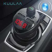 Cargador de coche Bluetooth KUULAA con transmisor FM 3.4A cargador Dual USB reproductor de Audio MP3 TF tarjeta coche Kit teléfono cargador