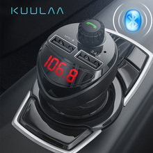 KUULAA Bluetooth Car Charger with FM Transmitter 3 4A Dual USB Charger Audio MP3 Player TF Card Car Kit Car Phone Charger cheap 2 A Ports Car Lighter Slot LC01 No Support 12-24V 2 4A Car charger 3 4A fast charging USB charger FM transmitter bluetooth reciever