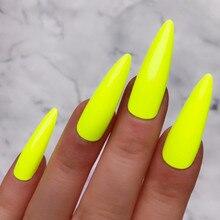 Неоновые зеленые искусственные ногти длинные шпильки искусственные поддельные ногти с клеем, стикер полное покрытие Хэллоуин Im пресс на ногти Ложные